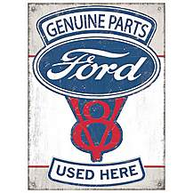 image of Ford Genuine Parts V8 Metal Wall Sign