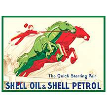 image of Shell Mechanical Horses Metal Wall Sign