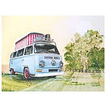 image of VW Watercolour Pop Up Metal Wall Sign