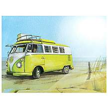 image of VW Watercolour Beach Metal Wall Sign