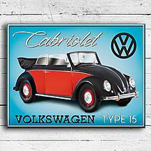 image of VW Beetle Cabriolet Metal Wall Sign