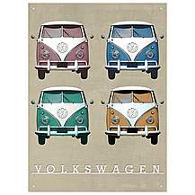 image of VW Camper Vintage Quad Metal Wall Sign