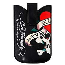 image of Ed Hardy Universal Press Stud Black Case - Love Kills Design