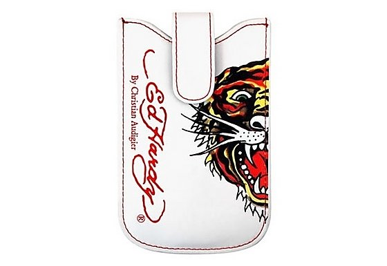 Ed Hardy Universal Press Stud White Case - Tiger Design