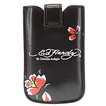 image of Ed Hardy Press Stud Black Case - Skulls and Flowers Design