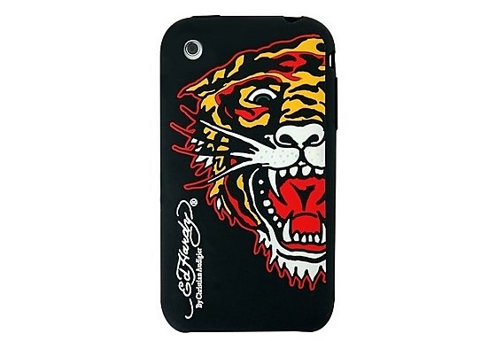 Ed Hardy Gel iPhone 3 Black Tiger Case