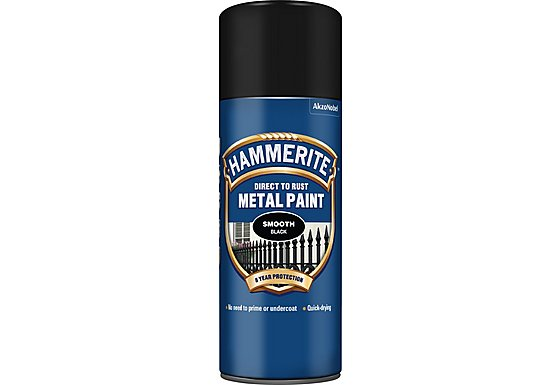 Hammerite Direct to Rust Metal Paint Smooth Black 400ml