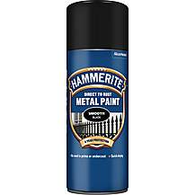 image of Hammerite Direct to Rust Metal Paint Smooth Black 400ml