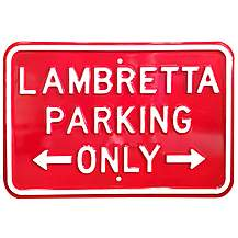 "image of Lambretta Red Parking Only Steel Sign 12"" x 18"""