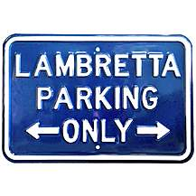 """image of Lambretta Blue Parking Only Steel Sign 12"""" x 18"""""""