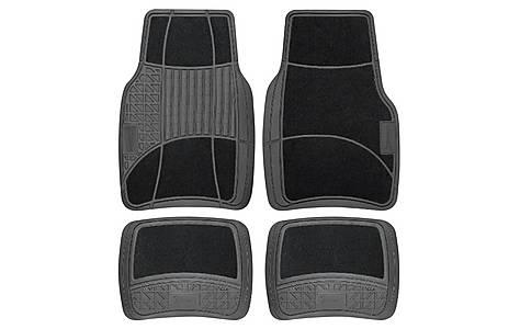 image of Michelin Carpet & Rubber 4 Piece Car Mat Set Black