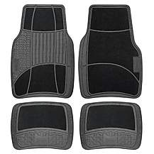image of Michelin Carpet & Rubber 4 Piece Car Mat Set Black