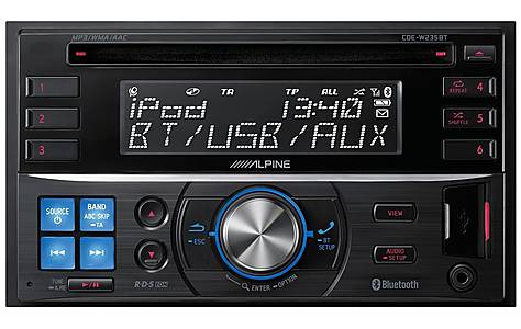 image of Alpine CDE-W235BT Double Din Car Stereo with Parrot Bluetooth