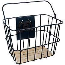 image of Olive and Orange by Orla Kiely Wire Bike Basket - Grey Navy