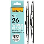 image of Halfords Set 26 Wiper Blades - Front Pair