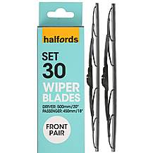 image of Halfords Set 30 Wiper Blades - Front Pair
