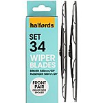 image of Halfords Set 34 Wiper Blades - Front Pair