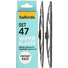 image of Halfords Set 47 Wiper Blades - Front Pair