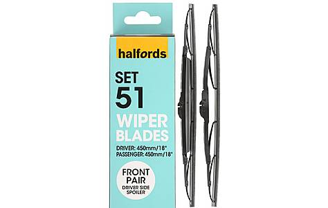 image of Halfords Set 51 Wiper Blades - Front Pair