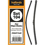 image of Halfords Wiper Blade Set 104 - Flat