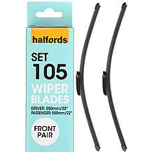 image of Halfords Set 105 Wiper Blades - Front Pair