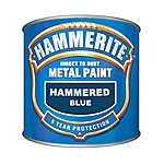 image of Hammerite Direct to Rust Metal Paint Hammered Blue 250ml