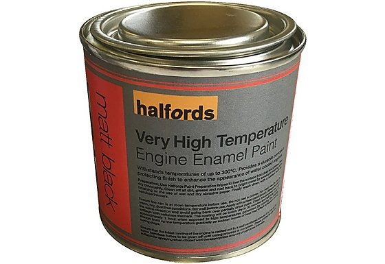 Halfords V High Temperature Engine Enamel Paint Matt Black 250ml