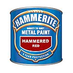 image of Hammerite Direct to Rust Metal Paint Hammered Red 250ml