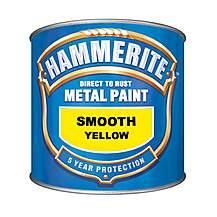 image of Hammerite Direct to Rust Metal Paint Smooth Yellow 250ml