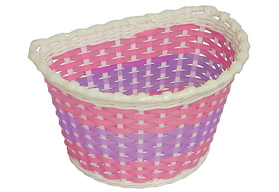 Girls Pink Woven Bike Basket