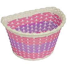 image of Girls Pink Woven Bike Basket