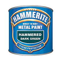 image of Hammerite Direct to Rust Metal Paint Hammered Dark Green 250ml