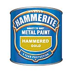 image of Hammerite Direct to Rust Metal Paint Hammered Gold 250ml