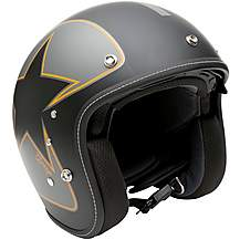 image of Duchinni D501 Matt Black/Orange Open Face Motorcycle Helmet