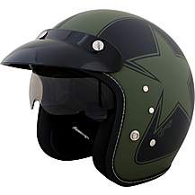 Duchinni D501 Matt Black/Green Open Face Helm
