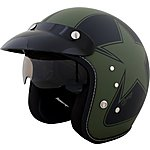 image of Duchinni D501 Matt Black/Green Open Face Helmet
