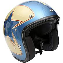 image of Duchinni D501 Gloss Blue/Red Open Face Helmet