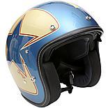 Duchinni D501 Gloss Blue/Red Open Face Helmet