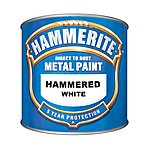 image of Hammerite Direct to Rust Metal Paint Hammered White 250ml