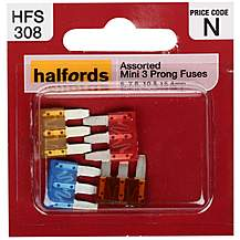 image of Halfords Mini Assorted Prong Fuses- 7.5AMP, 10AMP, 15AMP