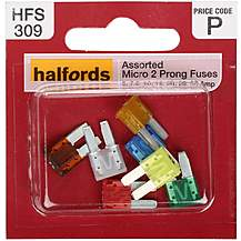 image of Halfords 2 Micro Prong Fuses- 5-7. 5-10-15-20-25-30AMP
