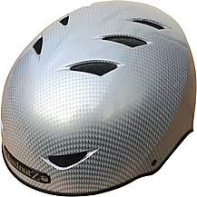 image of HardnutZ Silver Carbon Fibre Street Helmet - Medium 54-58cm