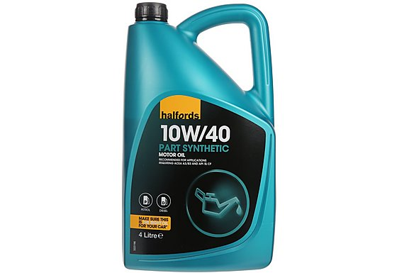 Halfords 10W40 Part Synthetic Motor Oil 4L