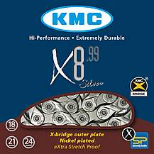 image of KMC X8-99 116L Silver Bike Chain - 8 Speed