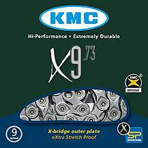 image of KMC X9-73 116L Grey Bike Chain - 9 Speed