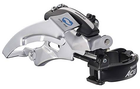 image of Shimano FD-M360 Acera Front Derailleur, Dual-Pull, Multi-Fit, Top Swing, Silver