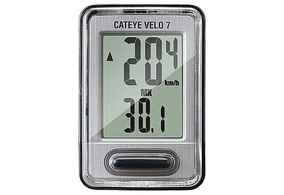 Cateye Velo 7 Wired Bike Computer - Grey