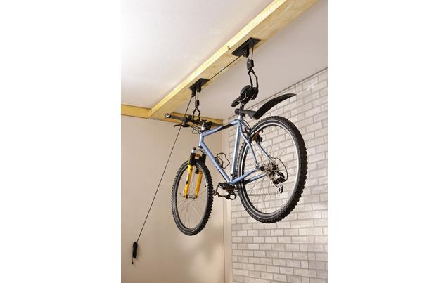 best way to store a bike on the ceiling singletrack magazine. Black Bedroom Furniture Sets. Home Design Ideas