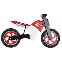 image of Kiddimoto Red, Black & White Scrambler Balance Bike