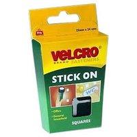VELCRO#174; Brand Stick on Squares 25mm - Black